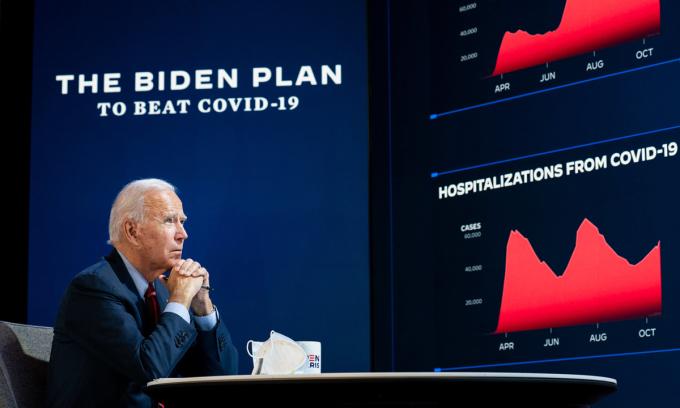 Ứng viên Dân chủ Joe Biden họp báo về Covid-19 tại Wilmington, bang Delaware hôm 28/10. Ảnh: NYTimes.