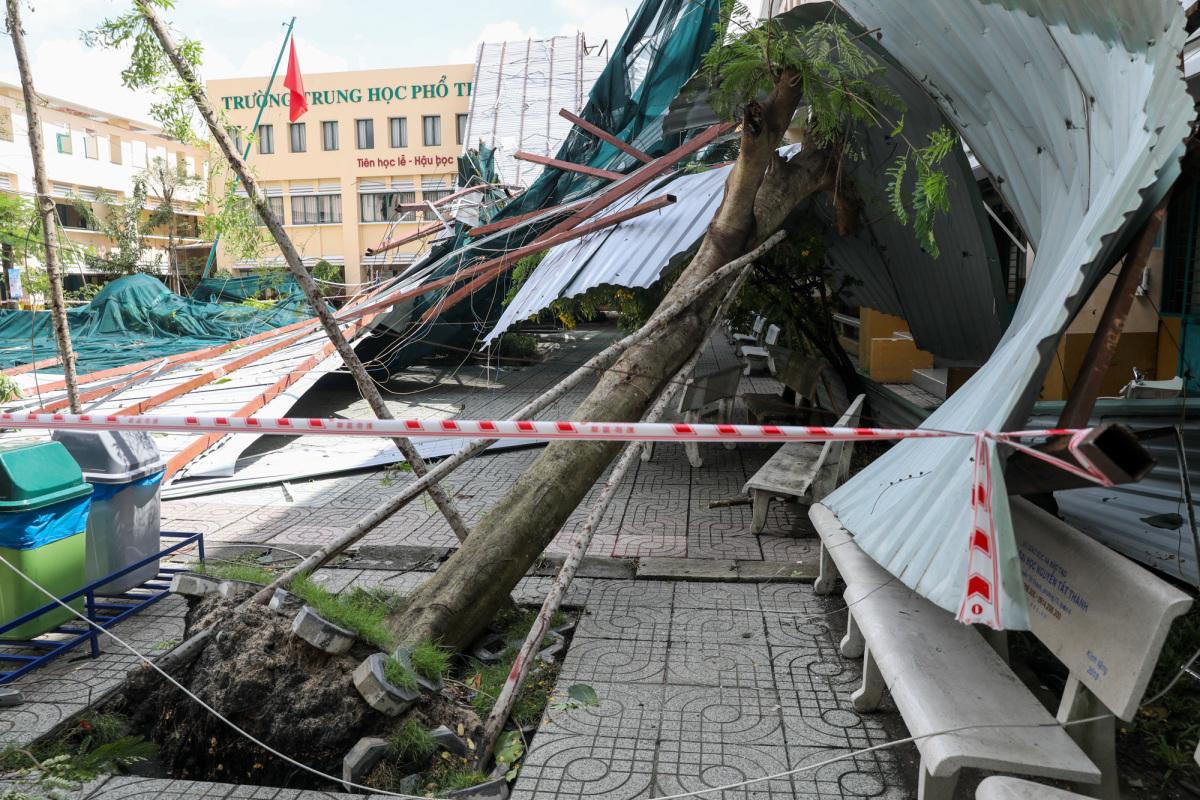 Trường sập, cây đổ hàng loạt trong giông lốc ở Sài Gòn
