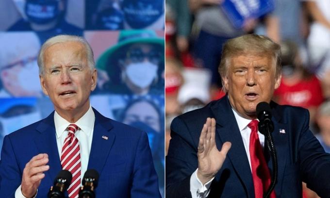 Tổng thống Mỹ Donald Trump (phải) và ứng viên tổng thống đảng Dân chủ Joe Biden trong các cuộc vận động lần lượt ở Delaware hôm 23/10 và Bắc Carolina hôm 21/10. Ảnh: AFP.