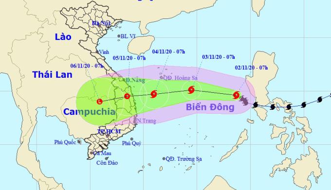 Dự kiến hướng đi và vùng ảnh hưởng của bão Goni. Ảnh: NCHMF