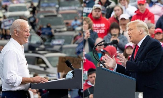 Tổng thống Mỹ Donald Trump (phải) và ứng viên tổng thống đảng Dân chủ Joe Biden trong các cuộc vận động ở Pennsylvania hôm 26/10 và Georgia hôm 27/10. Ảnh: AFP.