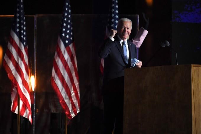 Joe Biden phát biểu tại trụ sở vận động tranh cử của  ở Wilmington, bang Delaware, vào đêm 3/11. Ảnh: AFP.