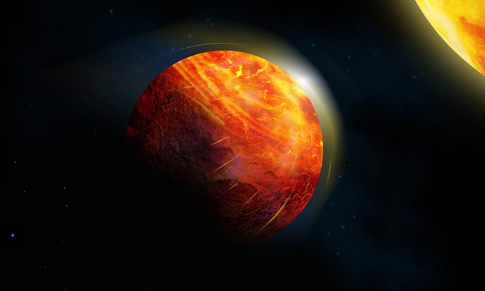 Mô phỏng hành tinh dung nham K2-141b quay quanh ngôi lùn cam K2-141. Ảnh: Julie Roussy.