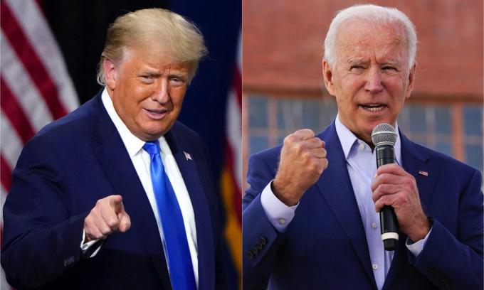 Tổng thống Donald Trump (trái) và ứng viên Dân chủ Joe Biden. Ảnh: AP.