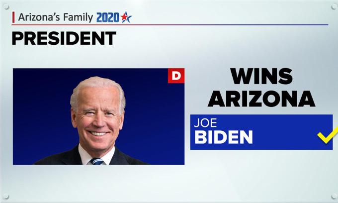 Thông báo Biden thắng ở Arizona. Ảnh: AP.