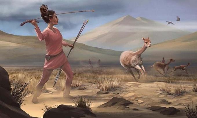 Phục dựng người phụ nữ săn thú lớn bằng các loại vũ khí. Ảnh: Matthew Verdolivo.