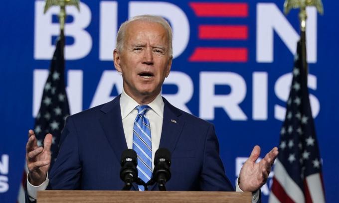 Joe Biden phát biểu tại thành phố Wilmington, bang Delaware, hôm 4/11. Ảnh: AFP.