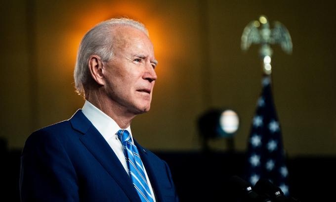 Ứng viên Dân chủ Joe Biden tại Wilmington, bang Delaware hôm 4/11. Ảnh: NYTimes.