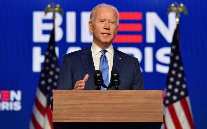Ứng viên Tổng thống đảng Dân chủ Joe Biden phát biểu về kết quả bầu cử tại Wilmington, Delaware ngày 6/11. Ảnh: Reuters