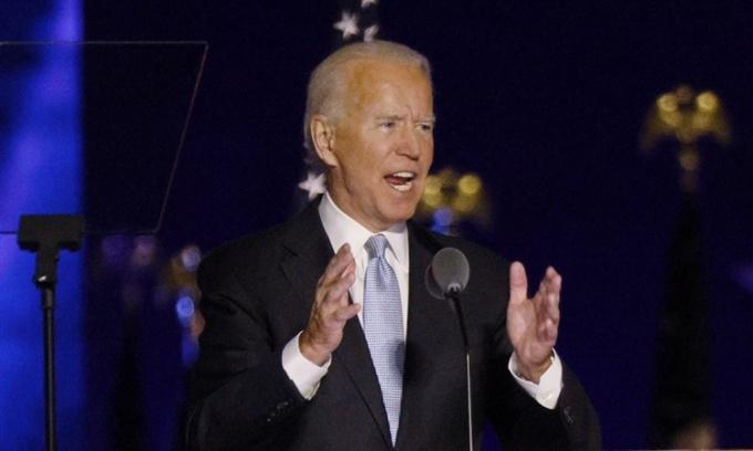 Biden phát biểu chiến thắng tối 7/11. Ảnh: Reuters.
