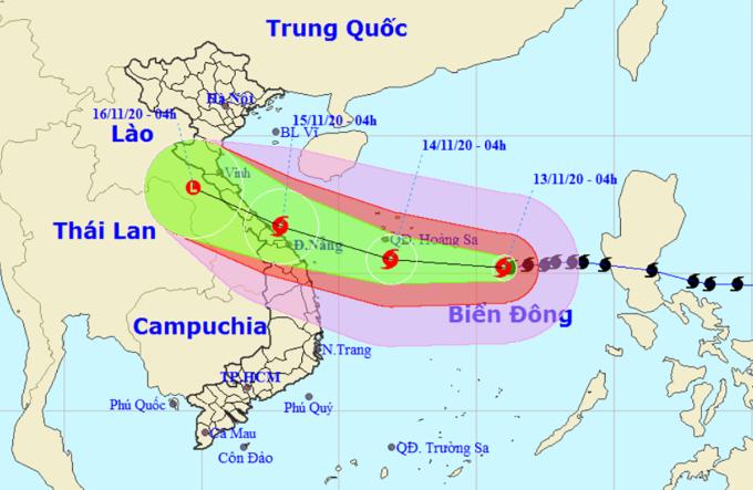 Dự kiến hướng đi và vùng ảnh hưởng của bão. Ảnh: NCHMF.