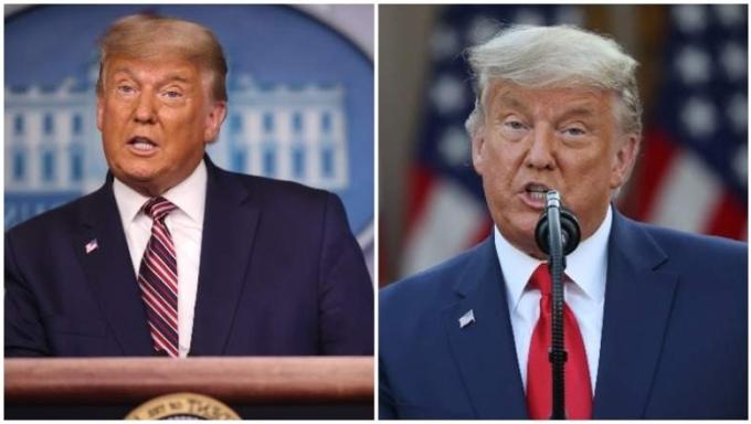 Trump trong cuộc họp báo hôm 5/11 (trái) và hôm 13/11. Ảnh: AFP.