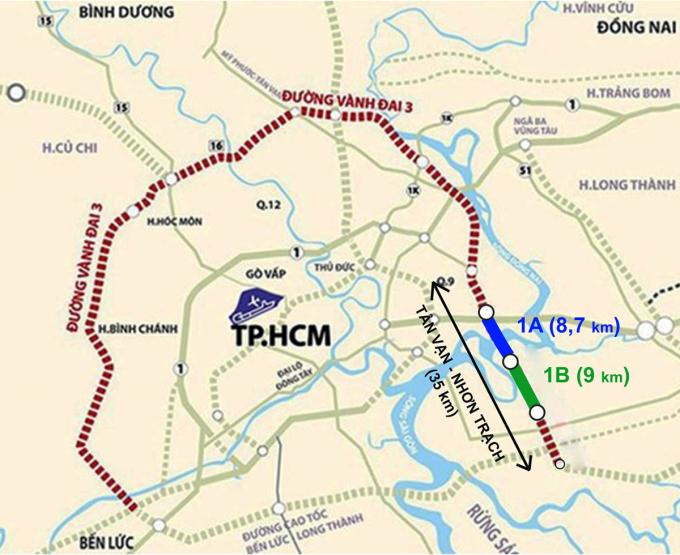 Hai dự án 1A và 1B thuộc Vành đai 3 TP HCM sắp khởi công. Đồ họa: Thanh Huyền.