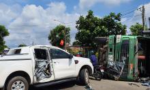 Xe ben tông hai ôtô trên quốc lộ
