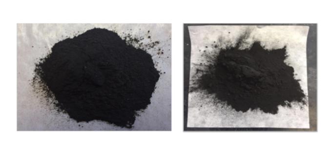 Than sinh học từ bã cây cúc cao su (trái) và phế phẩm quả bông. Ảnh: Đại học bang Pennsylvania.