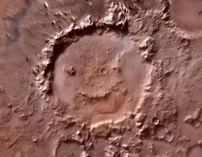 Miệng hố va chạm Galle Crater, gần nơi phát hiện loạt dấu vết của quỷ bụi. Ảnh: NASA.