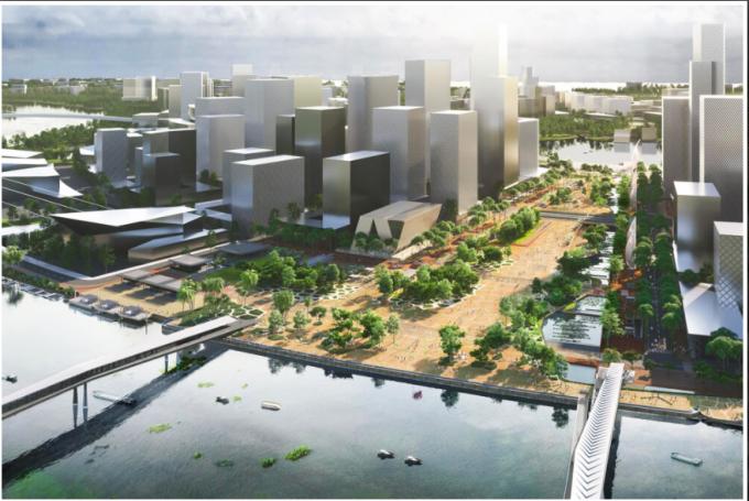 Phối cảnh thiết kế quảng trường trung tâm Thủ Thiêm. Ảnh: Deso Defrain Souquet Associates.