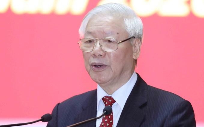 Tổng bí thư, Chủ tịch nước Nguyễn Phú Trọng phát biểu tại hội nghị. Ảnh: TTX
