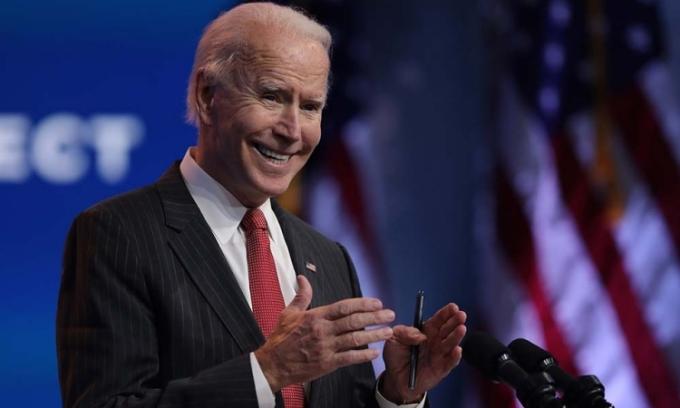 Tổng thống đắc cử Joe Biden phát biểu tại Wilmington, Delaware, hôm 19/11. Ảnh: AFP.