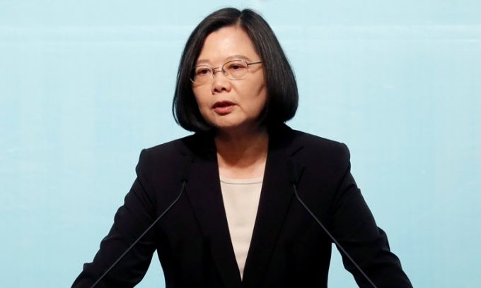 Lãnh đạo Đài Loan Thái Anh Văn phát biểu tại một sự kiện ở Đài Bắc hôm 16/4. Ảnh: Reuters.