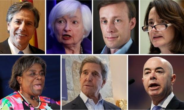 Từ trái qua phải: Antony Blinken, Janet Yellen, Jake Sullivan, Avril Haines (hàng trên), Linda Thomas-Greenfield, John Kerry và Alejandro Mayorkas (hàng dưới). Ảnh: Guardian.