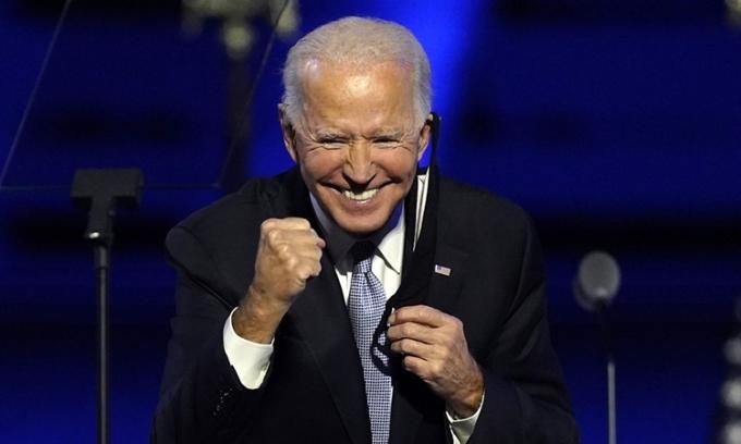 Joe Biden phát biểu ở Wilmington, Delaware, hôm 7/11. Ảnh: AP.