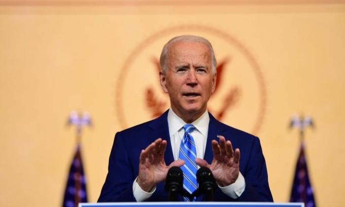 Tổng thống đắc cử Joe Biden phát biểu trong Lễ Tạ ơn ở Wilmington, Delaware, hôm 25/11. Ảnh: AFP