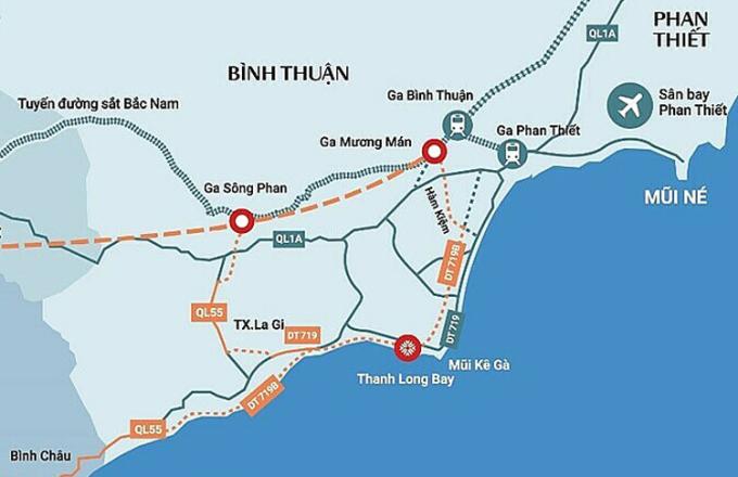 Hai tuyến đường 719 và 719B ven biển Bình Thuận sẽ kết nối mạng lưới giao thông và du lịch trong khu vực. Đồ họa: Nam Group.