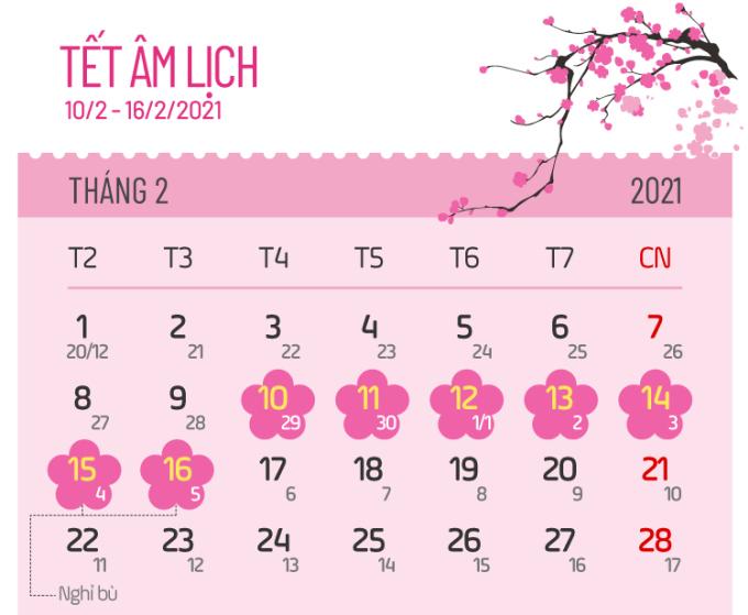 Các ngày nghỉ lễ năm 2021 - 2