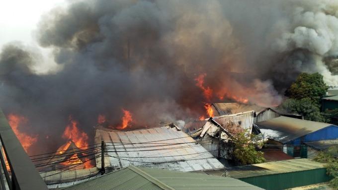 Hiện trường vụ cháy. Ảnh: CTV