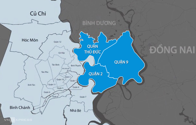 TP Thủ Đức được lập trên cơ sở sáp nhập 3 quận 2, 9 và Thủ Đức. Đồ hoạ:Thanh Huyền.