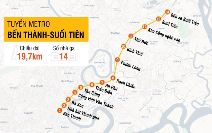 Lộ trình toàn tuyến Metro Số 1. Đồ họa: Tâm Linh.