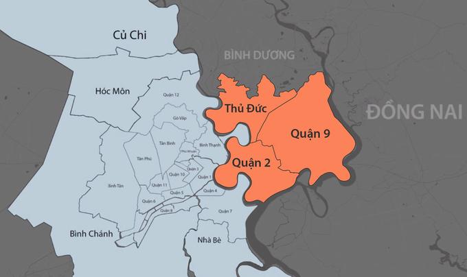 Thành phố Phía Đông sẽ gồm ba quận: 2, 9 và Thủ Đức. Đồ họa: Khánh Hoàng