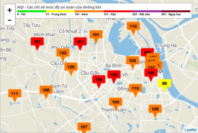 Hầu hết các điểm quan trắc cho thấy chất lượng không khí kém và xấu. Ảnh: Sở TNMT Hà Nội