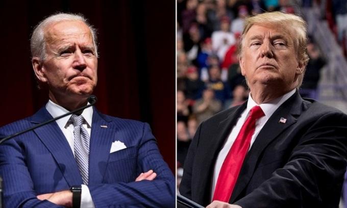 Tổng thống Mỹ Donald Trump (phải) và Tổng thống đắc cử Joe Biden. Ảnh: AP.