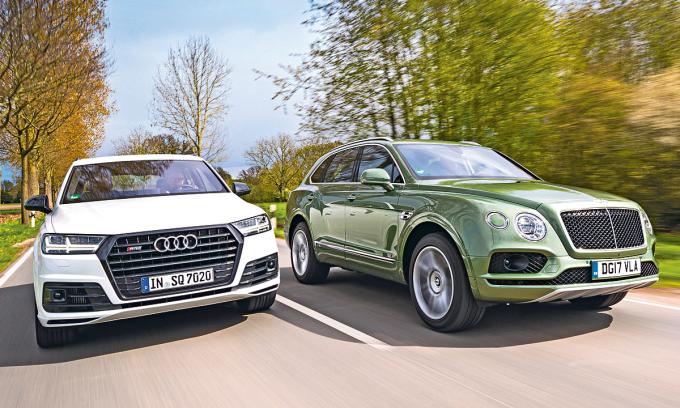 Audi SQ7 và Bentley Bentayga - hai mẫu SUV hạng sang cùng đại gia đình Volkswagen. Ảnh: Autozeitung