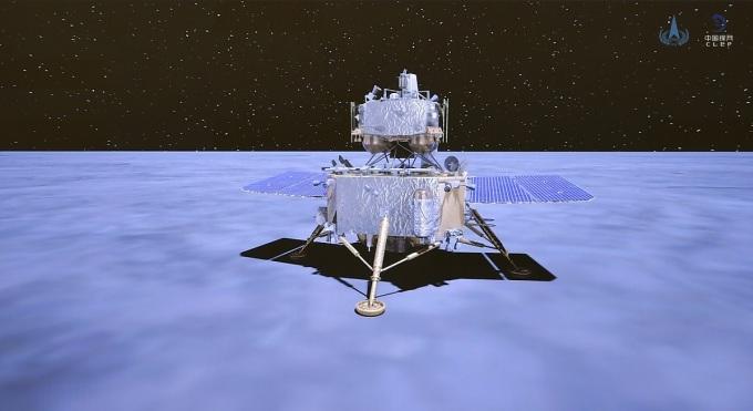HÌnh ảnh tàu Hằng Nga-5 sau khi Mặt Trăng lặn. Ảnh: Xinhua.