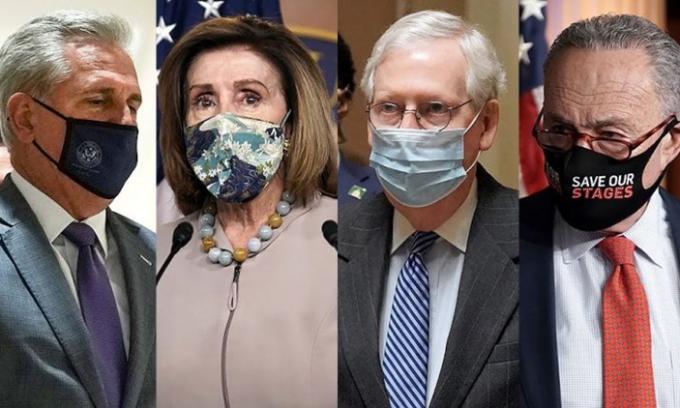 Các lãnh đạo quốc hội Mỹ, từ trái qua phải: lãnh đạo phe Cộng hòa tại Hạ viện Kevin McCarthy, Chủ tịch Hạ viện Nancy Pelosi, lãnh đạo phe Cộng hòa tại Thượng viện Mitch McConnell và lãnh đạo phe Dân chủ tại Thượng viện Chuck Schumer. Ảnh: Hill.