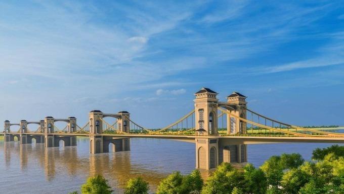 Thiết kế cầu Trần Hưng Đạo qua sông Hồng đang được đơn vị tư vấn nghiên cứu. Ảnh: TEDI.