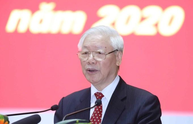 Tổng bí thư, Chủ tịch nước Nguyễn Phú Trọng phát biểu tại Hội nghị cán bộ toàn quốc, ngày 19/11. Ảnh: Phương Hoa