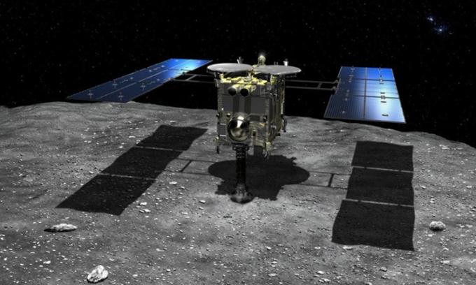 Tàu vũ trụ Hayabusa2 hoạt động trên tiểu hành tinh Ryugu. Ảnh: JAXA.