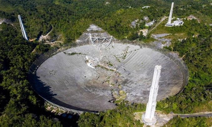 Kính viễn vọng Arecibo sụp đổ. Ảnh:Ricardo Arduengo/AFP.