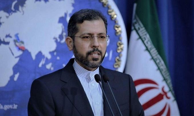 Phát ngôn viên Khatibzadeh cuộc họp báo tauh Tehran hôm 12/10. Ảnh: Tehran Times.