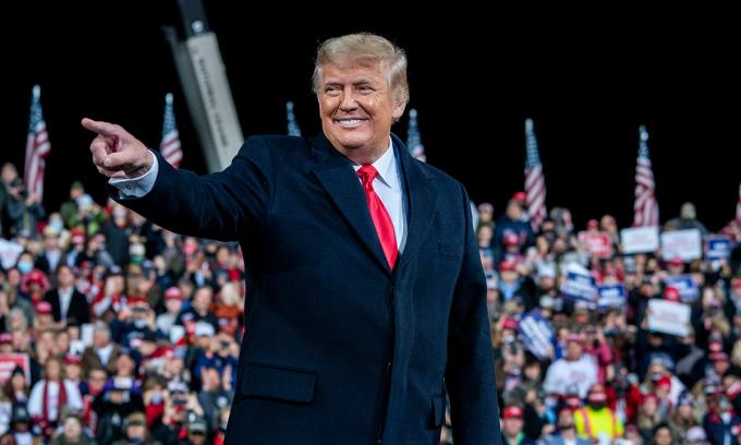 Tổng thống Donald Trump tại sự kiện ở Valdosta, bang Georgia đầu tháng này. Ảnh: NYTimes.