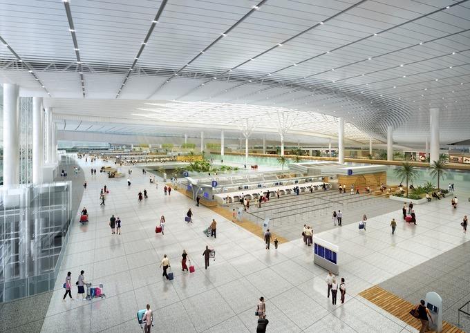 Khu vực làm thủ tục tại nhà ga sân bay Long Thành. Ảnh: ACV