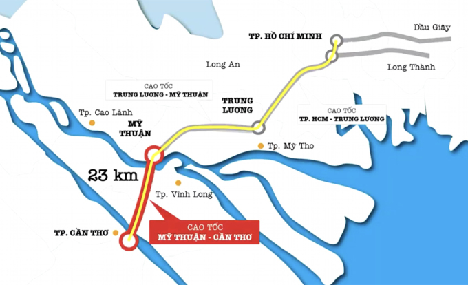 Sơ đồ toàn tuyến cao tốc TP HCM - Cần Thơ. Ảnh: Tổng công ty đầu tư phát triển và quản lý hạ tầng giao thông Cửu Long