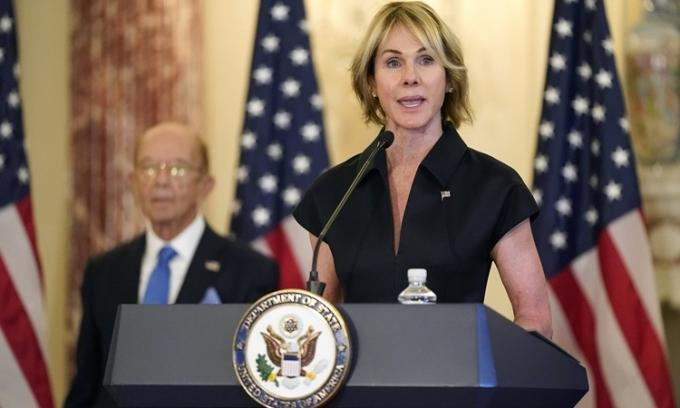 Đại sứ Mỹ tại Liên Hợp Quốc Kelly Craft phát biểu tại trụ sở Bộ Ngoại giao Mỹ hôm 21/9/2020. Ảnh: AFP.