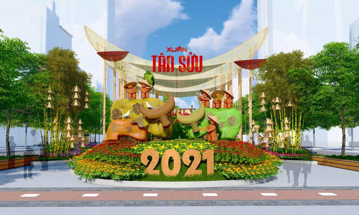 Thiết kế đường hoa Nguyễn Huệ Tết Tân Sửu