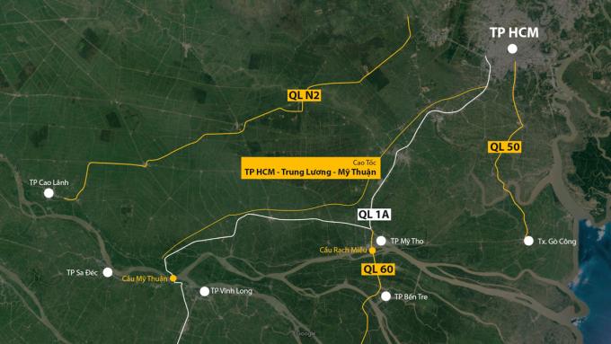 Các tuyến đường từ TP HCM về miền Tây. Đồ hoa: Khánh Hoàng.