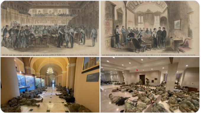 Ảnh do phóng viên CNN đăng để so sánh tình hình hiện nay với thời Nội chiến. Ảnh: Twitter/Rebecca Buck.